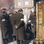 poland ghetto jews are infront of a market 90x120cm